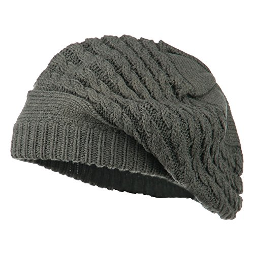 Women's Cable Knit Beret - Grey OSFM