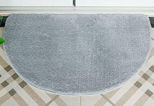 (ZebraSmile 19.5 X 31.5IN Semi Circle Super Soft Bath Room Micro Fiber Bath Rug Front Under Door Mat Half Circle Shower Mat Half Moon Mat Thin Door Rug Semicircle Indoor for Bathroom/Gray)