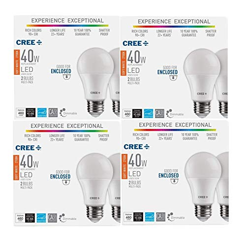 Cree 8 Pack 40W Equivalent Soft White (2700K) A19 Dimmable Exceptional Light Quality LED Light Bulb.