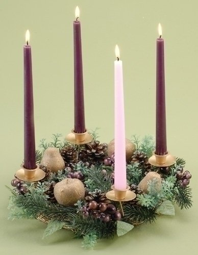 Berries and Pears Fruits Christmas Advent Wreath Candleholder Holiday 24119 (Berry Candle Holder)