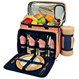 Picnic at Ascot Equipped Insulated Picnic Cooler With Blanket, Orange/Navy
