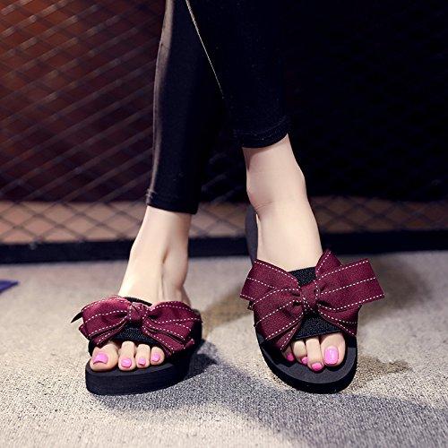 FLYRCX Moda casual de verano al aire libre del fondo plano calzado de playa Dulces bow señoras dedos zapatillas. f
