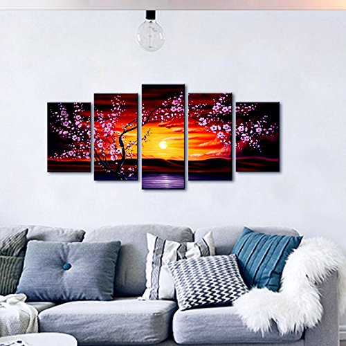 Wieco art 5 panels plum tree blossom modern giclee canvas for House decor sale