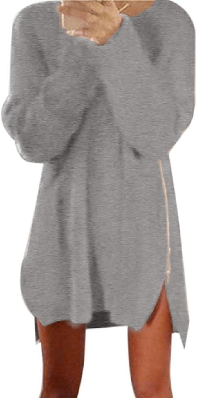 Pullover Kleid Damen, GJKK Mode Herbst Winter Damen Frauen Reißverschluss  Pullover Minikleid Pullover Kleid