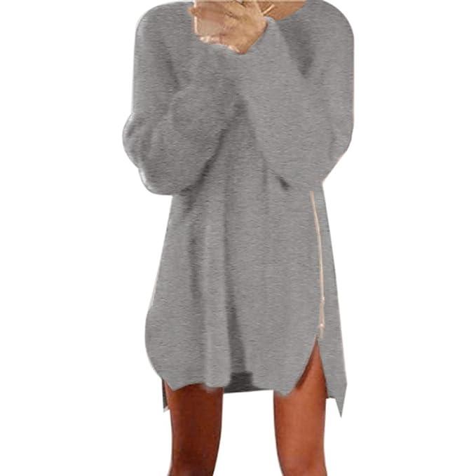 550e9e2c41a7e2 Pullover Kleid Damen, GJKK Mode Herbst Winter Damen Frauen Reißverschluss  Pullover Minikleid Pullover Kleid (