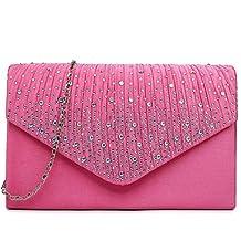 Miss Lulu Ladies Diamante Clutch Evening Bridal Wedding Bag Handbag
