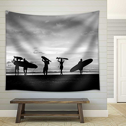 Silhouette of Surfer People Carrying Their Surfboard on Sunset Beach Black and White Color Fabric Wall