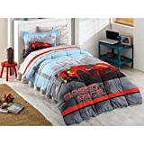 Kids Comforter Set  Race Car Theme Twin Size Fitted Sheet Poly Cotton Set 59''x 85'' (150x210cm) 4 Pcs