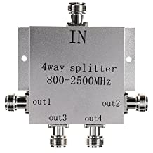 Lysignal Power Splitter 800-2500MHz Signal Divider with N Female Connector for Mobile Cell Phone Signal Booster Amplifier (4 Way)