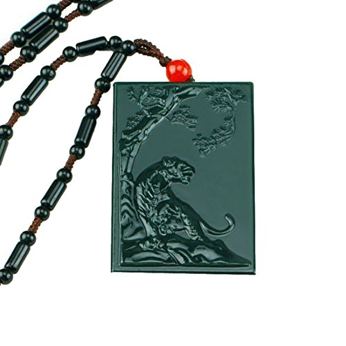 100% pure natural Green jade Hand Carved Lucky Wealth up Tiger Pendant Necklace