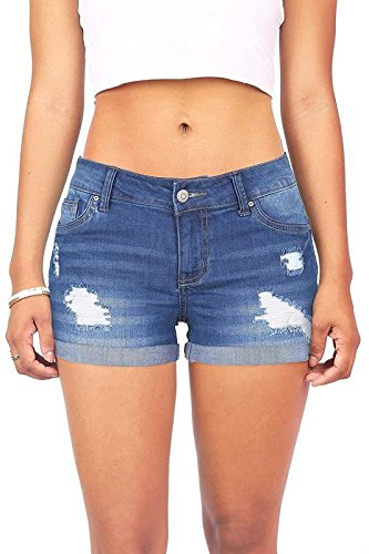 (Wax Women's Juniors Body Enhancing Denim Shorts (M, Med. Denim))