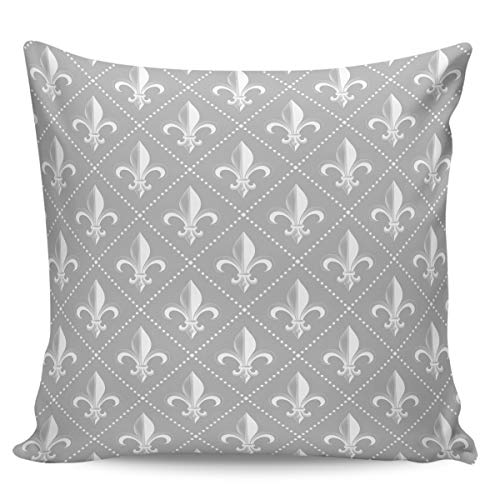 "Velvet Soft Decorative Square Throw Pillow Covers Euro Shams Cushion Cases Pillowcases for Sofa Couch Chair Bedroom Car, Fleur De Lis Iris Damask with Vintage Geometric Diamond Lines Gray 18"" x 18"""
