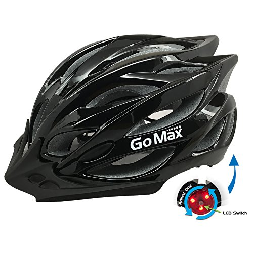 GoMax Aero Adult Safety Helmet Adjustable Road Cycling Mountain Bike Bicycle Helmet Ultralight Inner Padding Chin Protector and Visor w/Rear LED Tail Light Adjust (Shiny Black with LED, X-Large)