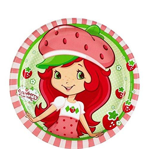 American Greetings Strawberry Shortcake Round Plate (8 Count), (Strawberry Shortcake Striped Costumes)