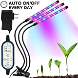 Cycle Timing Grow Light, Auto On/Off Every Day (4H/8H/12H) 8 Levels Plant Lights Lamp Growing Lamps with 360° Flexible Gooseneck for Indoor Plants Garden Greenhouse Tent Herbs Potted Hydroponics
