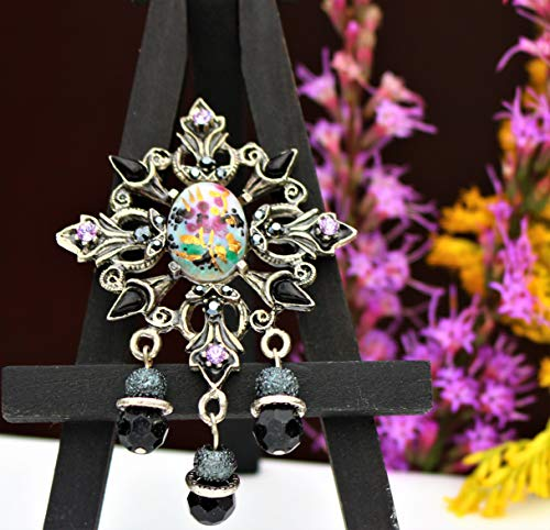 (Maltese cross ornate silver tone with black and lavender color rhinestones and dangle beads made in USA by Inga Engele great condition brooch pin )