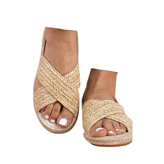 e6b884945f4d3 Amazon.com: Veodhekai Women Flats Straw Hemp Rope Elastic Flip Flops ...