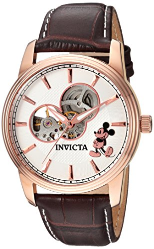 Edition Limited Skeleton Mens (Invicta Men's Disney Limited Edition Gold Automatic-self-Wind Watch with Leather Calfskin Strap, Brown, 22 (Model: 24502))