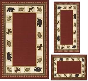Amazon Com Modern Lodge Cabin Moose Baby Bear 3 Piece