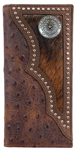 Seal with Ostrich and Long inlay wallet hide print hair Texas Custom qB4YRR
