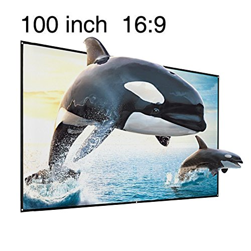 "100"" Projector Screen, 100 Inch Diagonal 16:9 Projection HD"