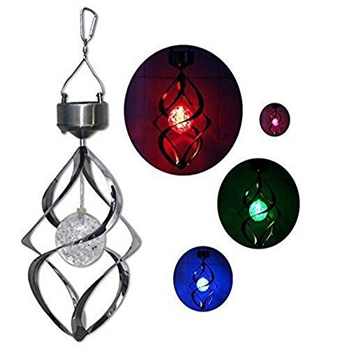 Vanki Outdoor Portable Light Solar Powered Colour Changing LED Hanging Wind Chime Crack Ball Spiral Spinner Light Lamp For Garden Yard Décor