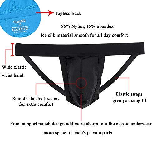 Nightaste Men Jockstrap Underwear Athletic Supporter Performance Breathable G-String Thong Undies (XXL, Assorted)