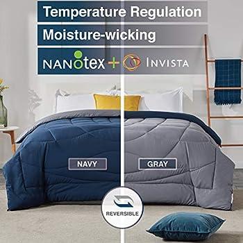 SLEEP ZONE All Season Comforter Down Alternative Cooling Reversible Duvet, NavyBlue+Gray, Full/Queen