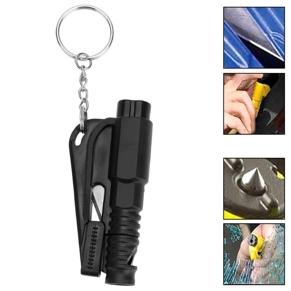Ociodual Herramienta de Rescate Seguridad Rompe Cristales Corta Cinturon Silbato Negro