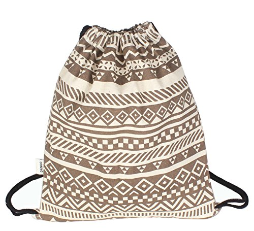 DANUC Gym Sack Bag Drawstring Backpack Sport Bag for Men & Women School Travel Backpack (Brown)
