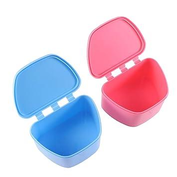 Denture Bath Case False Teeth Storage Box 2 PCS Mouth Protector Container