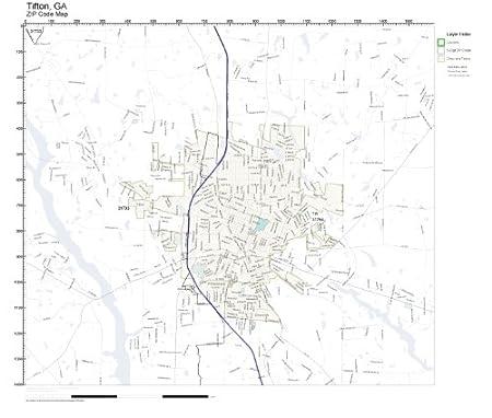Amazon.com: ZIP Code Wall Map of Tifton, GA ZIP Code Map Not