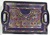 Olinala Hand Crafted Incised Rectangular Lacquerware Wooden Tray Medium Size From Mexico Jewelry Rolling Tray Approx 17'' X 12'' (Purple - Rainbow Forest)