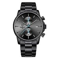 Herren Chronograph Mens Fashion Luxury Business Quartz Watches Stainless Steel Waterproof Wristwatch