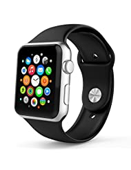Apple Watch Band, MoKo Soft Silicone Fitness Replacement Sport Band for 42mm Apple Watch All Models, BLACK(3 pieces of bands included for 2 lengths, Not fit Apple Watch 38mm version 2015)