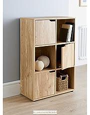 Turin Oak Finish 6 Cube 3 Doors and 3 Open Cubes Shelf/Shelves Books CDs & DVDs Office Home Storage Unit