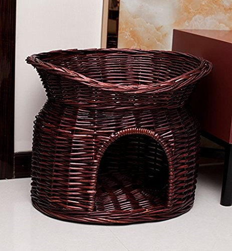 Handmade Wicker Basket Cat Bed Cave Dog House Pet Home Rattan Furniture Kennel Two Level Cushions and Mats Included (L(5236 cm), Brown) ()