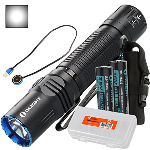 (Olight M2R Warrior 1500 Lumen Magnetic USB Rechargeable LED Compact Tactical Flashlight, 2 x 3500mAh Batteries, Lumen Tactical Battery Organizer (Cool White/Neutral White Options) (Cool White) )