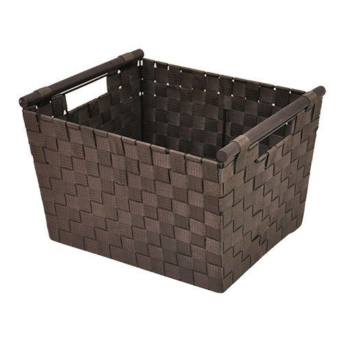The Lucky Clover Trading Simple Storage Basket with Wood Handle, Chocolate