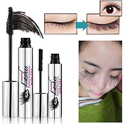 4D Silk Mascara Cream, POPVCLY Makeup Eyelashes with Fiber Sets Waterproof Mascara Eye Black Eyelash Extension Crazy Long Style Warm Water Washable Mascara, 10ml (4D)