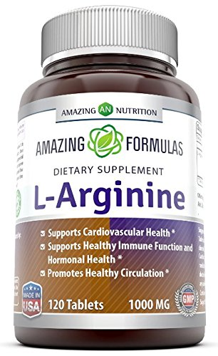 Amazing Formulas L-Arginine 1000mg Supplement - Best Amino Acid Arginine HCL Supplements for Women & Man - Promotes Circulation and Supports Cardiovascular Health - 120 Tablets