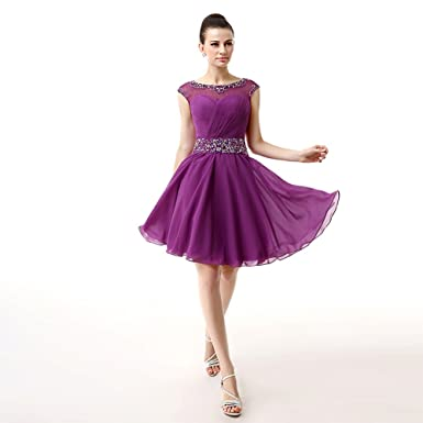 6babde35d6d Wishopping Women s Short Beads Prom Gown Homecoming Dress Purple Size 2