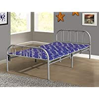 Home Source Industries Butterfly Metal Folding Twin Bed with Padding, Silver