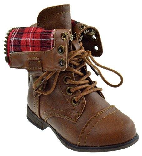 Forever Link Legend 8KA Little Kids Combat Lace Up Boots Tan 7 Toddler