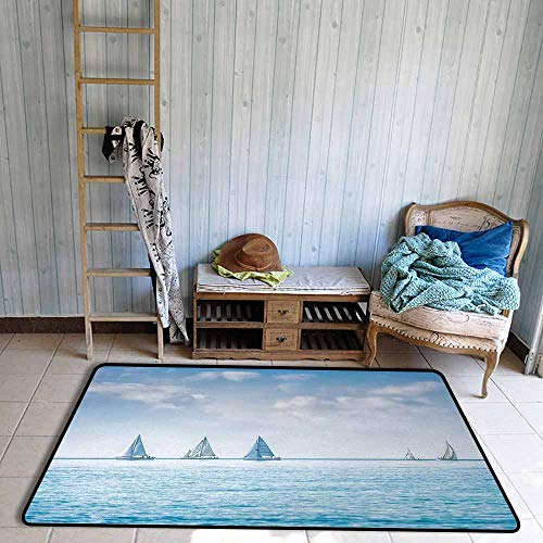 Children's Rug Ocean Sail Boats Sea Regatta Race Sports Panoramic View Seascape Summer Sky Photo Anti-Fading W59 xL82.5 Light Blue and White