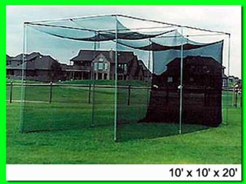 Dura-Pro 20′(d) x 10′(h) x10′(w) Golf Cage Golf Net With High Velocity Strong Impact Netting, High Impact Double Back Stop and Target. This is the Commercial Grade Cage