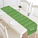 Artsadd Soccer Field Kitchen Dining Table Runner 14x72 inch For Dinner Parties, Events, Decor