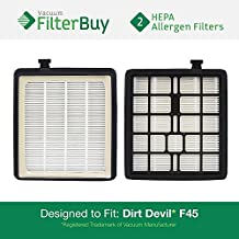2 - Dirt Devil F45 HEPA Replacement Filters, Part # 2KQ0107000. Designed by FilterBuy to fit Dirt Devil Vision Pet Canister Vac SD40000 & Dirt Devil EZ Lite Canister Vac SD40010
