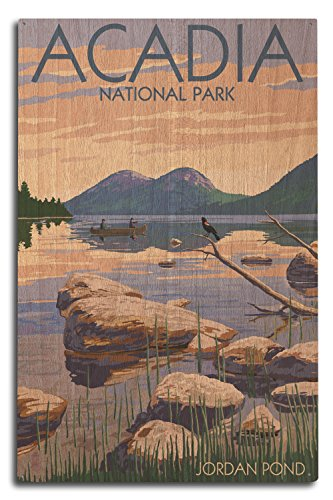 Lantern Press Acadia National Park, Maine - Jordan Pond (10x15 Wood Wall Sign, Wall Decor Ready to Hang)