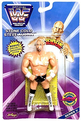 (WWF / WWE - 1997 - JusToys - Bend-Ems - Stone Cold Steve Austin Figure - Series V - Poseable, Bendable - New - Limited Edition - Collectible)